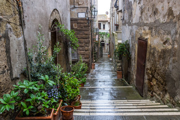 Fototapeta Pitigliano buildings and streets in medieval town in Tuscany