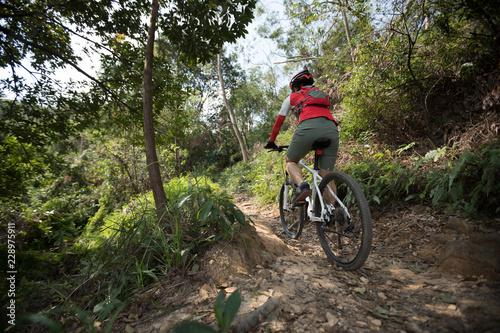 Foto op Aluminium Fietsen cyclist riding mountain bike on rocky trail at sunny day
