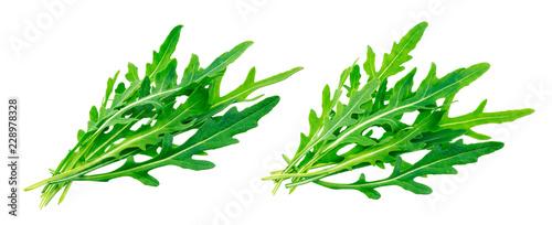 Fotografía Rucola. Heap of fresh arugula leaves isolated on white background