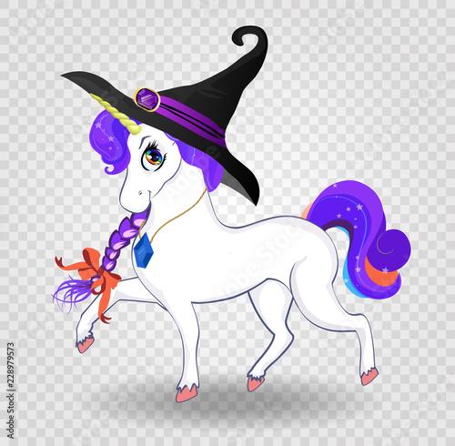 Kawaii Cartoon Unicorn With Purple Hair In Witch Hat On