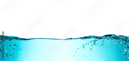 Foto op Aluminium Water Blue water wave with bubbles close-up background texture isolated on top. Big size large photo.