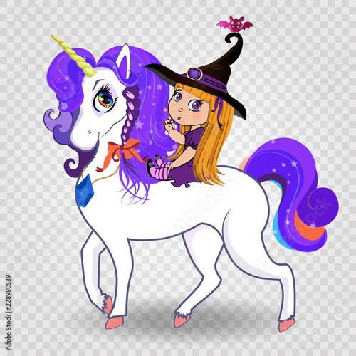 Kawaii Baby Witch Girl Riding Beautiful Magical Unicorn On