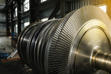 Close Up Rotor Of A Steam Turbine,of A Big Electric Motor In The Coal Fired Power Plant.
