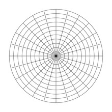Polar Grid Of 10 Concentric Circles And 15 Degrees Steps. Blank Vector Polar Graph Paper