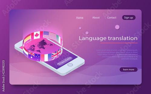 Fotografía  Online translator concept isometric vector illustration