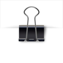 Binder Clip For Paper Design. Realistic Metallic Black Paper Clip With Shadow From A Sheet Of Paper.