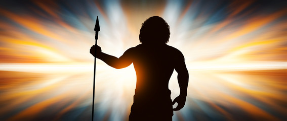 Neanderthal man with a spear in hand