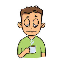 Funny Sleepy Guy With A Cup Of Morning Coffee. Cartoon Design Icon. Colorfull Flat Vector Illustration. Isolated On White Background.