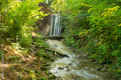 Photo  Waterfall at the spa garden in the german city Heilbad Heiligenstadt