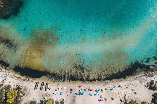 Fényképezés  Aerial view of the tropical beach full of people