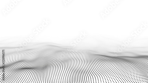 Wave of particles. Abstract background with a dynamic wave. Big data. 3d rendering.