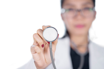 Female doctor using a stethoscope