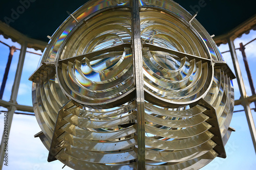 Valokuva  lamp of the lighthouse / glass large lamp on the sea lighthouse, large light sou
