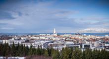 Aerial View Of Reykjavik Panorama