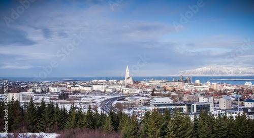 Vászonkép Aerial view of Reykjavik Panorama