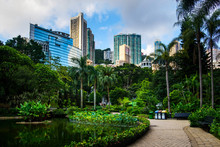 Hong Kong Park Surrounded By Modern Buildings Of Downtown