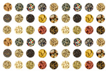 Set Of A Variety Of Spices Nuts Hazelnut Almond Cashew Mix Pepper Red Green White Starry Anise Whole Coriander On White Background Culinary Design