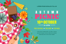 Fall Picnic Horizontal Background. Autumn Thanksgiving Holiday Vector Poster, Banner Template.