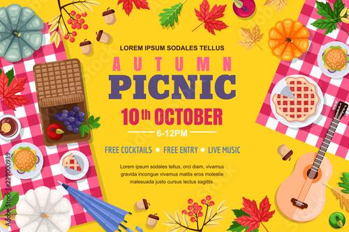 Autumn picnic background frame Fototapeta