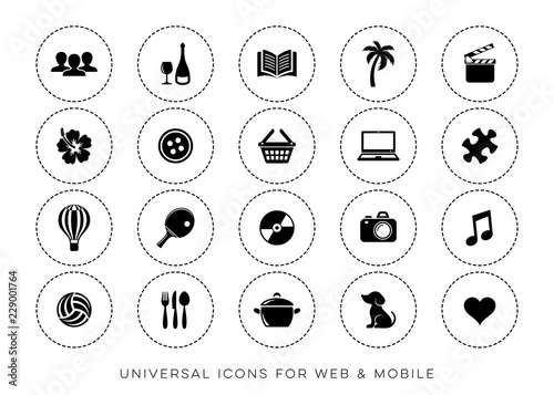 Black vector leisure web and mobile icons #229001764