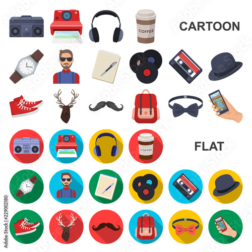 Style Hipster cartoon icons in set collection for design Wallpaper Mural
