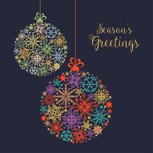 Christmas Card, Colorful Snowflake Balls Ornaments