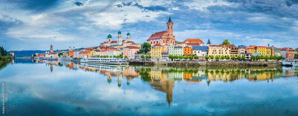 Fototapety, obrazy: Passau city panorama with Danube river at sunset, Bavaria, Germany