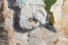Extraction Of Minerals By The Open Method. Mining, Extraction Of Rocks By An Excavator. Aerial View