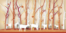 Paper Art Of Goats In The Autumn Season With Nature Maple Leaf And Trees Background As Digital Craft Style Concept. Vector Illustration