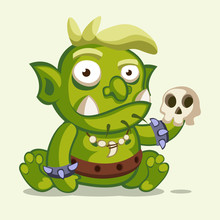 Illustration Of A Sitting Little Green Ogre With Blond Hair And A Skull In Arm