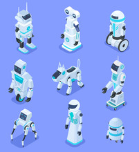 Isometric Robots. Isometric Robotic Home Assistant Security Robot Pet. Futuristic 3d Robots With Artificial Intelligence. Vector Set Of Robot Intelligence For Assistant, Multitasking Ai Illustration