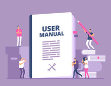 User Manual Concept. People With Guide Instruction Or Textbooks. User Reading Guidebook And Writting Guidance. Vector Illustration. Manual Book Instruction, Handbook Help Guide