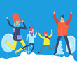 Cartoon characters in winter clothes. Happy family jumping in snowdrift. Winter scene and happy family illustration