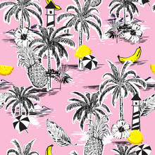 Beautiful Seamless Island Pattern. Landscape With Palm Trees,fruit,hibiscus Flower,banana,orange,beach And Ocean Vector Hand Drawn Style