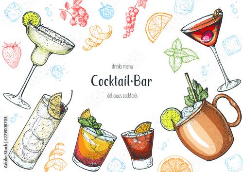 Fototapeta Alcoholic cocktails hand drawn vector illustration. Cocktails set. Menu design elements. obraz