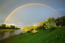Summer Landscape With A Rainbow