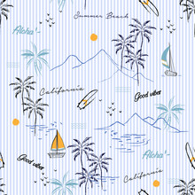 Island Seamless Pattern In The Summer Mood With Mountain,windsurf,boat,plam Trees Vector In Hand Drawn Style On Stripe Design For Fashion,fabric,and All Prints