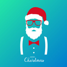 Hipster Man Wearing Santa Claus Suit. Merry Christmas Greeting Banner. Vector Illustration.