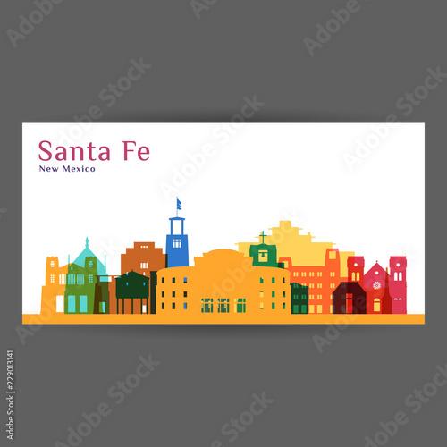 Fototapeta premium Sylwetka architektury miasta Santa Fe. Kolorowa panorama. Płaska konstrukcja miasta. Wizytówka wektor.