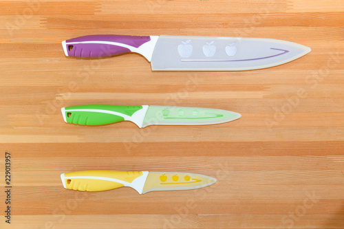 Close up Colorful Kitchen Knives with Different Purposes on ...