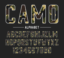 Sans Serif Font With Camouflage Texture. Condensed Bold Typeface, High Alphabet With Numbers In Military And Army Style. Vector Illustration.