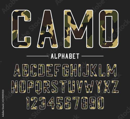 Fényképezés Sans serif font with camouflage texture