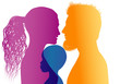 Young mom and dad adopt an African or African American child. Vector color profile silhouette