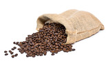 Roasted coffee beans falling out of a burlap sack. Sackcloth bag with coffee beans, isolated on white background.