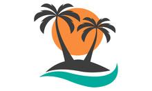 Palm Tree, Sun And Island Vector