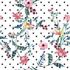 FototapetaWatercolor tropical floral pattern on polka dot.
