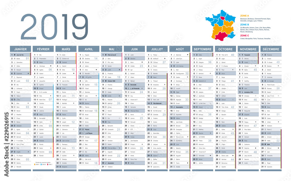 Calendrier 2019 Word Modifiable.Calendrier 2019 Vacances Scolaires 2020 2019 10 21