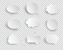 White Blank Speech Bubbles Isolated Vector Set. Infographic Design Thought Bubble On The Transparent Background. Eps 10 Vector File.