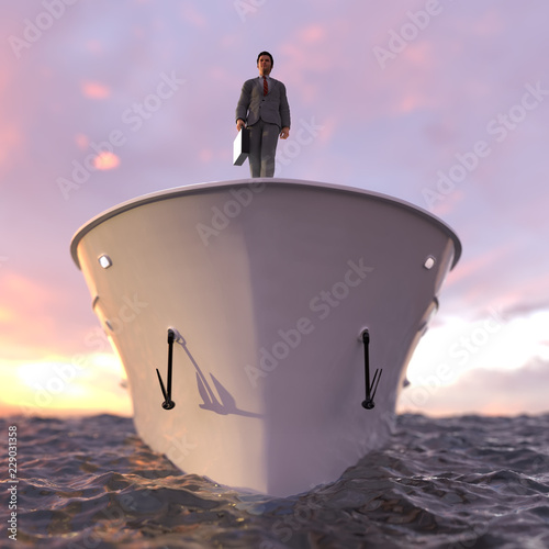 successful businessman standing on the prow of the ship Fotobehang