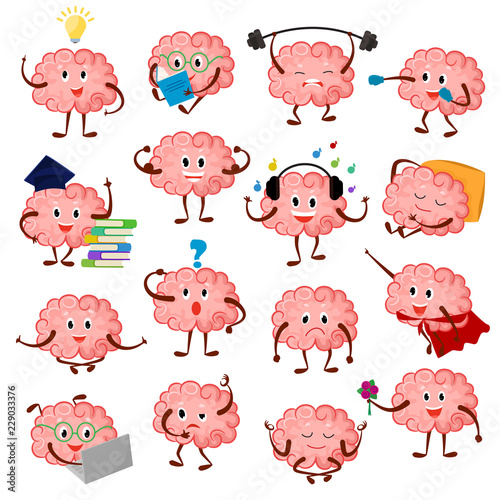 Obraz na plátně Brain emotion vector cartoon brainy character expression emoticon and intelligen